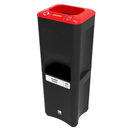 Стойка из 2-х урн для пластика и несортируемого мусора