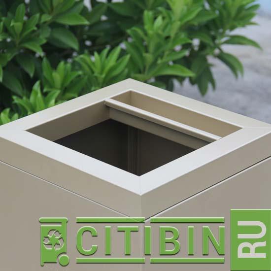 Удобный квадратный проем для всех видов мусора
