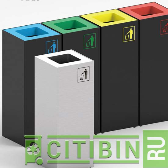 Блочно-модульные прямоугольные урны для мусора Brick