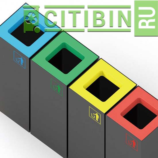 разноцветные верхние крышки мусорной урны Brick