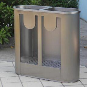 Прозрачная металлическая мусорная урна для раздельного сбора мусора
