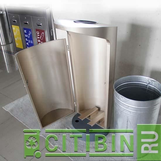 Урна для мусора с баком на 100 литров циллиндрическая