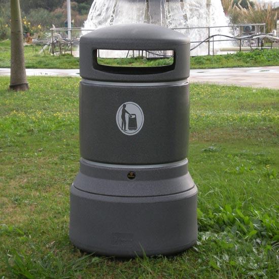 Серая цилиндрическая мусорная урна для улицы 100 литров Plaza