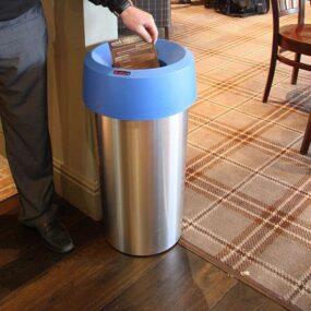 Офисная серебристая круглая урна 50 литров