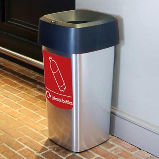Серебристая мусорная урна для помещений Vista square