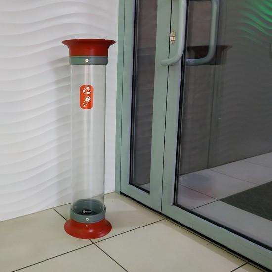 Контейнер - урна для использованных батареек напольная прозрачная C-Thru 15 литров