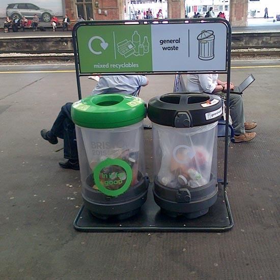 Уличные прозрачные мусорные урны c-Thru 180 литров