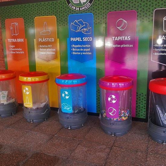 Урны прозрачные для раздельного сбора мусора в помещении C-Thru Glasdon
