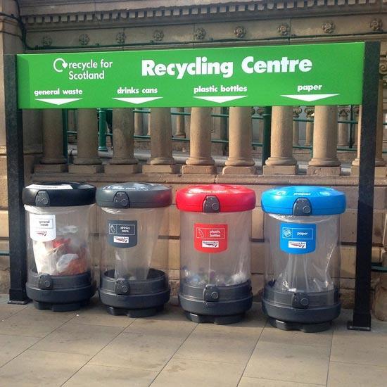 Уличные прозрачные мусорные урны для раздельного сбора C-Thru 180 литров