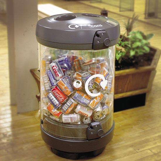 Прозрачная мусорная урна для сбора алюминиевых банок C-thru