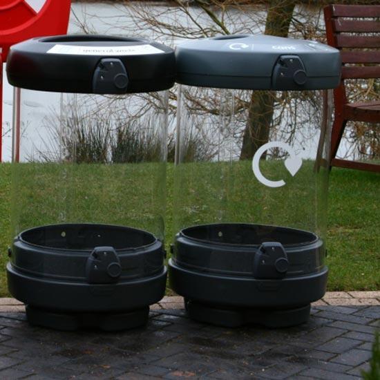 Раздельные прозрачные урны для мусора на улице C-Thru 180 литров
