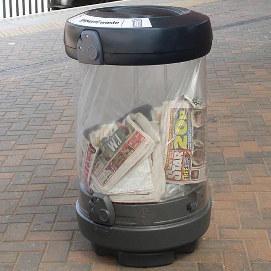 Большая прозрачная мусорная урна C-Thru General 180 литров