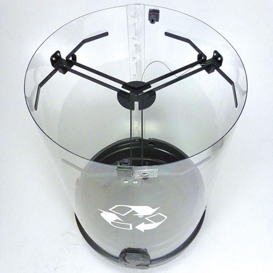 урна мусорная трехсекционная прозрачная для раздельного сбора