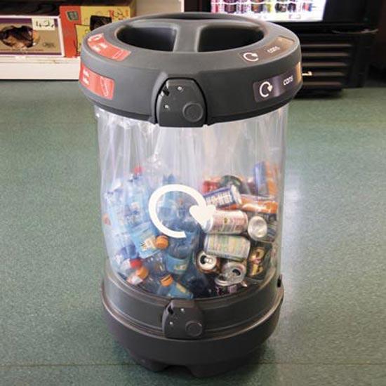 Прозрачная мусорная урна для 3 видов мусора C-Thru 180 Glasdon