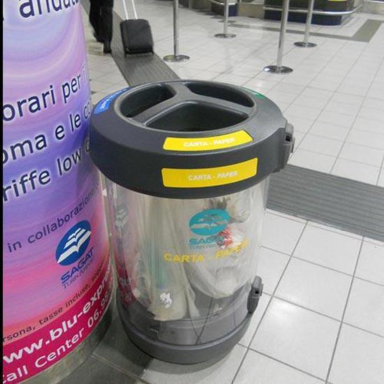 Прозрачная мусорная урна для раздельного сбора в помещениях GLASDON