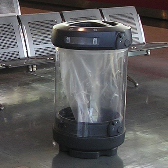 Урна прозрачная для раздельного сбора в помещении 3 вида мусора GLasdon Англия