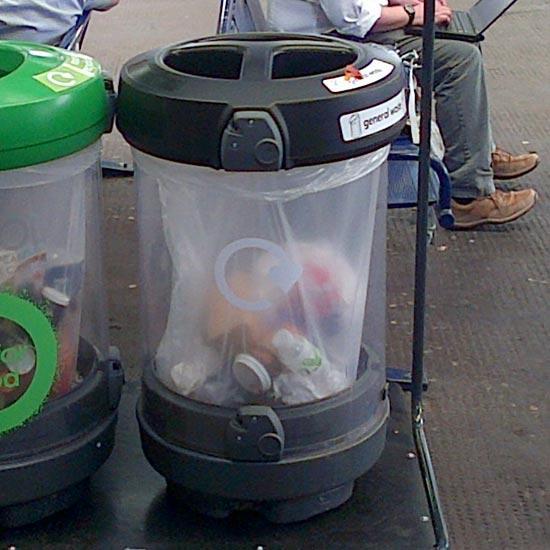 Прозрачные мусорные урны под раздельный сбор Glasdon Trio