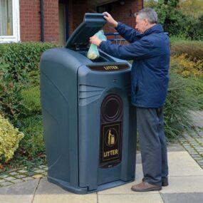 Уличная мусорная Урна контейнер с закрытым верхом NEXUS Glasdon Англия