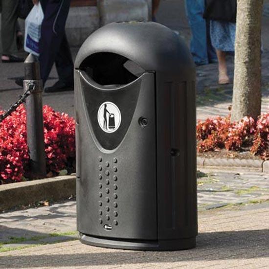 Черная мусорная уличная урна на 65 литров Glasdon