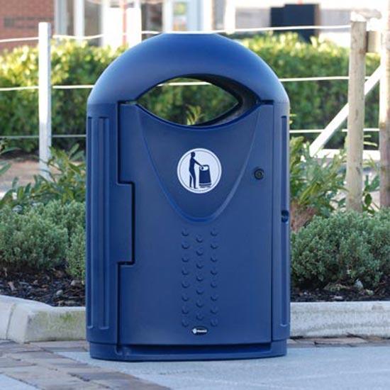 Урна для мусора овальная уличная синего цвета