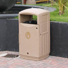 Бежевая мусорная урна для городских площадей GLASDON FUTURO
