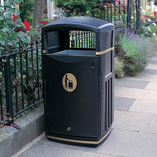 Квадратная мусорная урна 120 литров уличная FUTURO