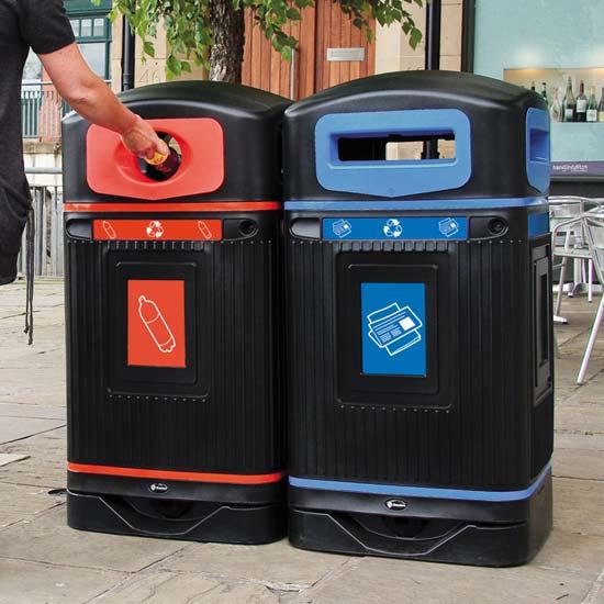 Урны для сбора бумаги и пластика Glasdon 2 бака по 110 литров