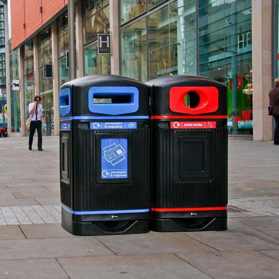 Урны для раздельного сбора пластик бумага уличные закрытые Glasdon
