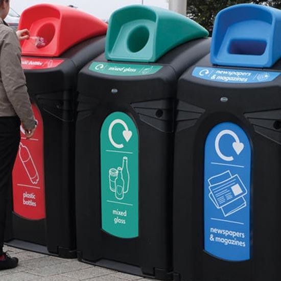 Мусорные контейнеры для раздельного сбора пластика стеклянных бутылок и бумаги GLASDON