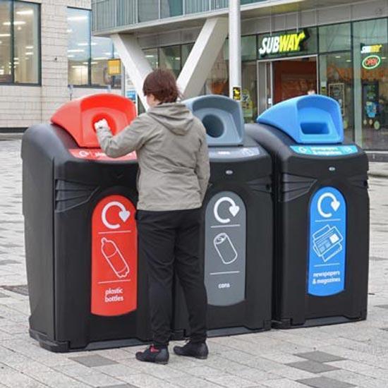 Уличные контейнеры для раздельного сбора пластик алюминий бумага NEXUS City 240 GLASDON