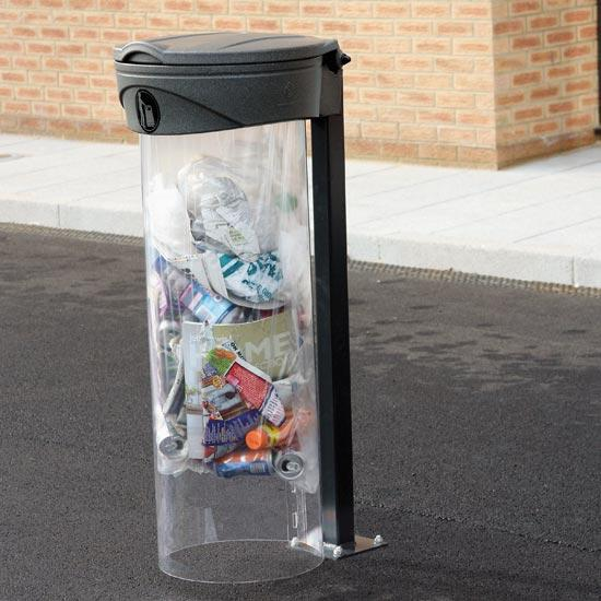 Уличная мусорная урна прозрачная Glasdon Orbis