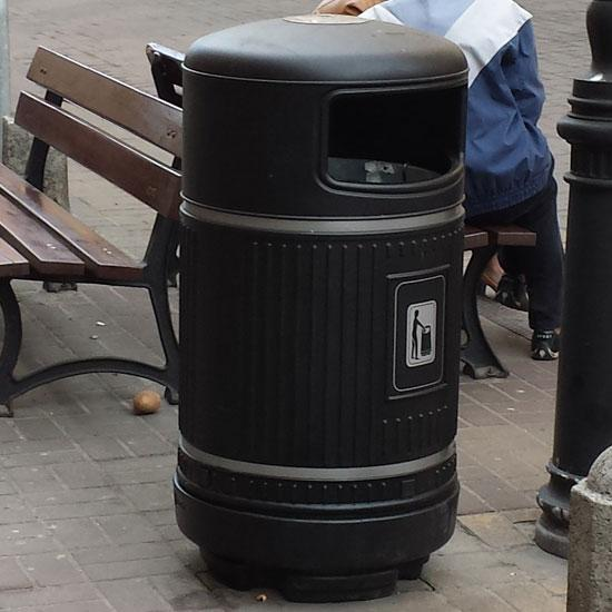 Урна для сбора мусора черная антивандальная прочная Glasdon Англия