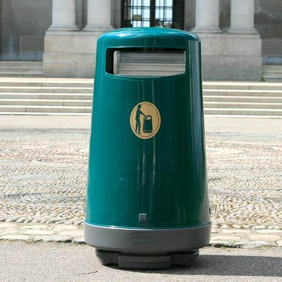 Темно-зеленая мусорная уличная урна 90 литров