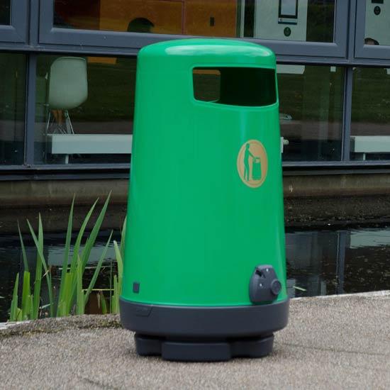 Зеленая мусорная урна с баком 90 литров