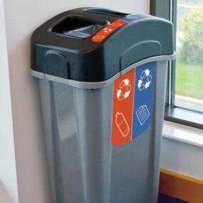 Раздельная урна на 2 вида мусора внутри помещения ECO NEXUS DUO 85