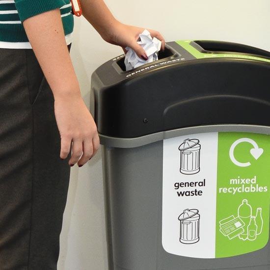 Высокая урна для 2 видов мусора ECO NEXUS DUO 85