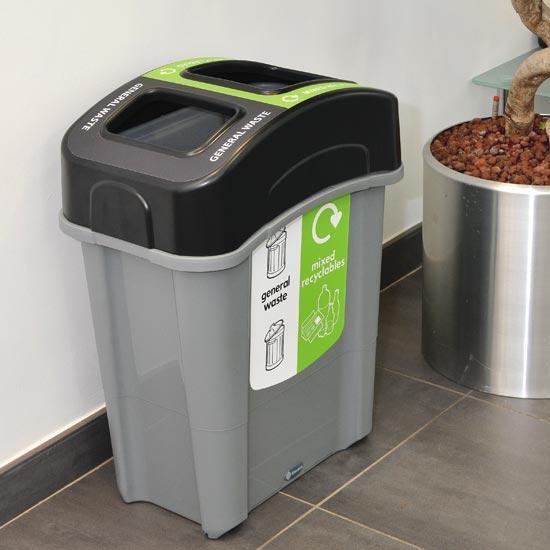 Коридорная узкая урна для раздельного сбора 2 видов мусора ECO NEXUS DUO