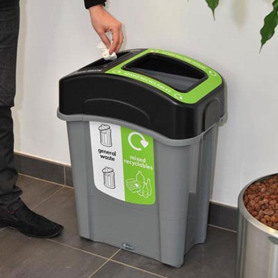 Узкая мусорная урна для раздельного сбора в помещении ECO NEXUS DUO 60 литров