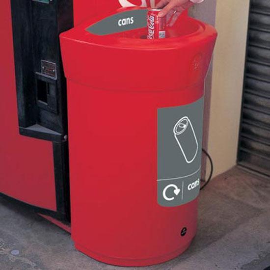 D-образная мусорная урна для сбора алюминиевых банок в помещениях 110 литров GLASDON