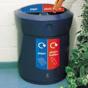 Урна D-образная для раздельного сбора 2 видов мусора в одном корпусе 90 литров GLASDON