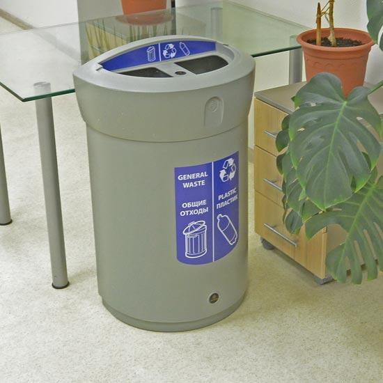 Двойная урна для пластика и общего мусора ENVOY