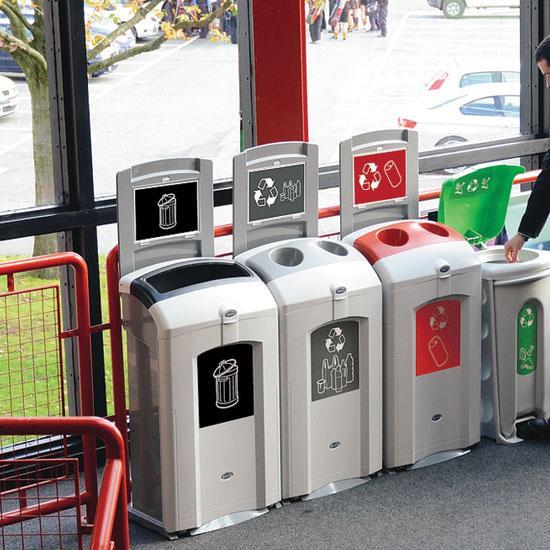 Урна для 4 видов мусора в помещении с верхней загрузкой NEXUS 100 литров Glasdon