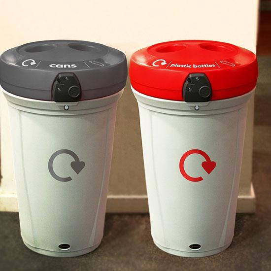 Урны цилиндрические для раздельного сбора бутылок и алюминиевых банок на 130 литров