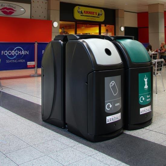 Раздельные мусорные урны для больших помещений NEXUS 140 GLASDON