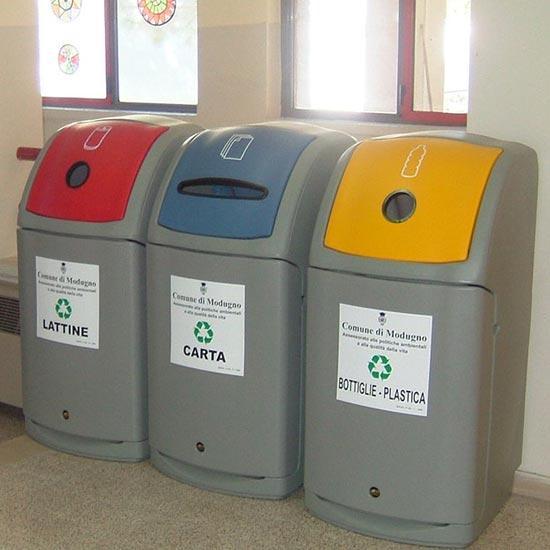 Большие мусорные урны для помещений под бутылки бумагу и пластик GLASDON NEXUS 140
