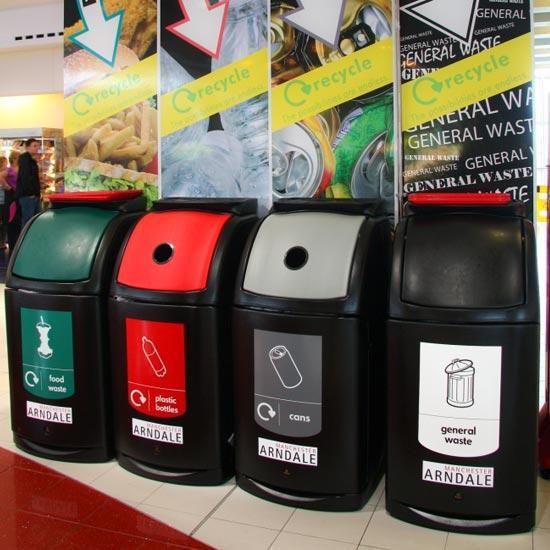 Раздельные большие урны для разных видов мусора NEXUS 140 GLASDON