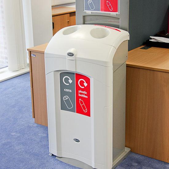 Мусорная урна для алюминиевых банок и пластиковых бутылок в одном корпусе NEXUS 100 DUO