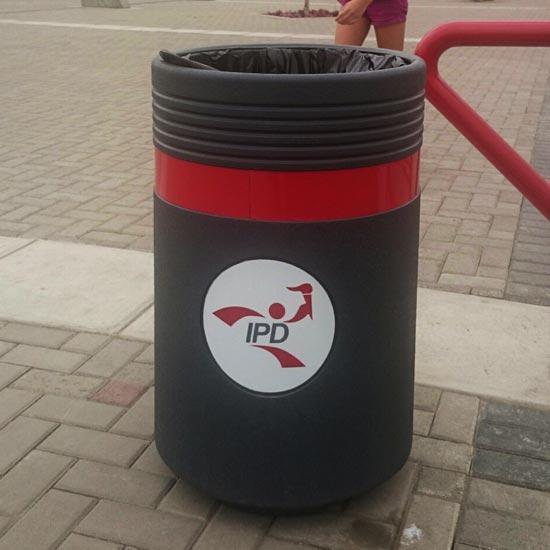 Урна с красным кантом для мусора ADMIRAL