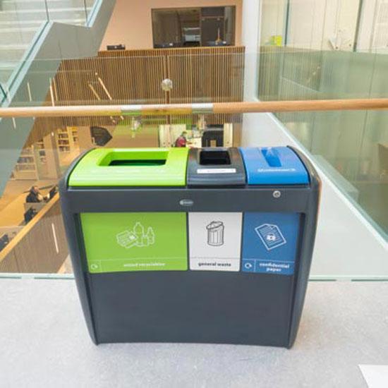 Урна с тремя отсеками для сбора мусора в помещениях ECO