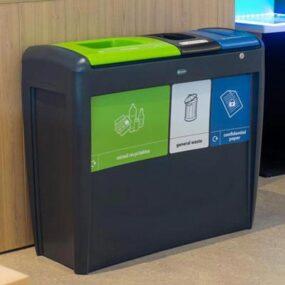 Тройная напольная пластиковая мусорная урна EVO GLASDON